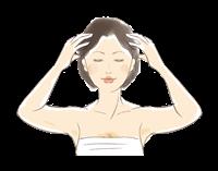 頭頂部や耳周辺を重点的にマッサージ
